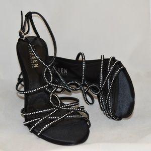 Ralph Lauren Black Satin Embellished Sandals 8M